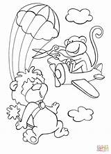 Coloring Sky Skydiving Lion Monkey Disorderly Pages Plane While Brave Tries Intervene Drawing Dot Clipart Printable Paper sketch template