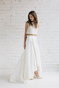 two piece wedding dress bridal separates crop top dress With two piece dresses for weddings