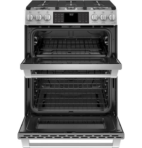 ge cafe series    front control gas double oven  convection range cgsselss