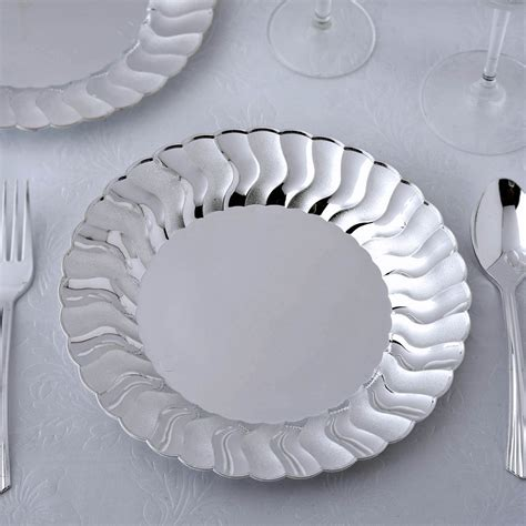 10 Pack 9 Silver Disposable Flared Round Dinner Plates