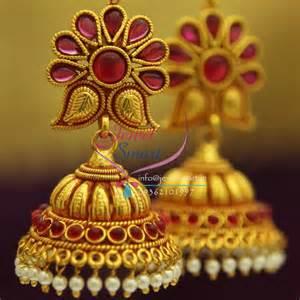 antique gold jhumka earrings j1924 temple gold mango design kempu jhumka online