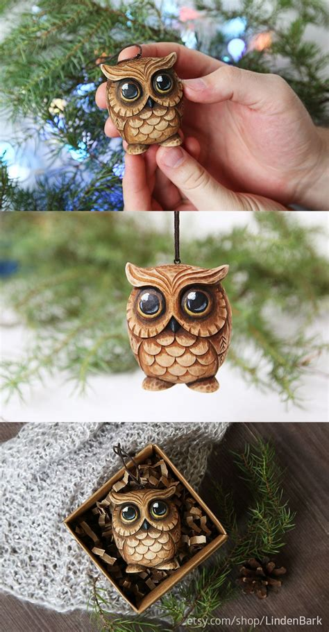 carved owl ornament owl lover gift christmas ornaments