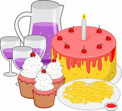 Clipart Clip Party Birthday Cartoon Celebration Snacks