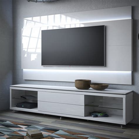 tv stand cabinet with led lights high gloss floating wall manhattan comfort lincoln tv stand w casters lincoln