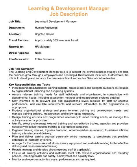 hr manager description 8 free sle exle