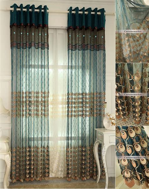 teal french style  peacock feature sheer curtains