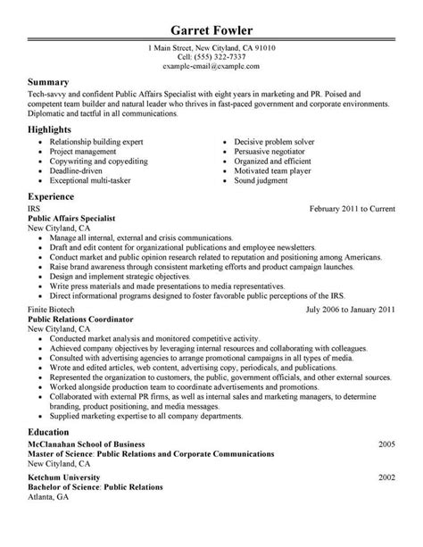 Resume Building Tips Pdf by Best Affairs Specialist Resume Exle Livecareer