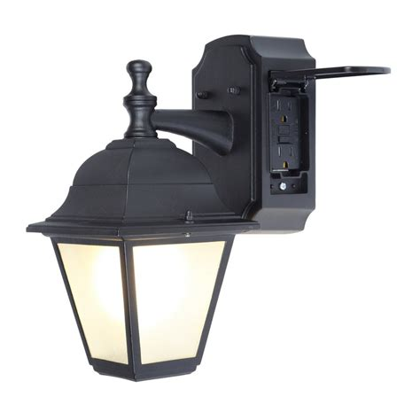 kitchen light fixture shop portfolio gfci 11 81 in h black outdoor wall light at