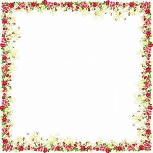 Flower And Butterfly Border Design Png