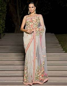 Purchase Online Floral Embroidered Net Saree By Meena