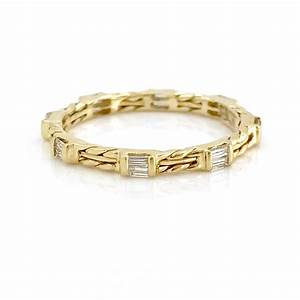 18k gold double baguette diamond wedding band stacking ring for Double band diamond wedding ring