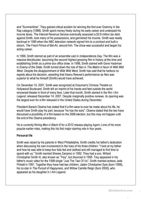 reading comprehension will smith biography worksheet free esl printable worksheets made by