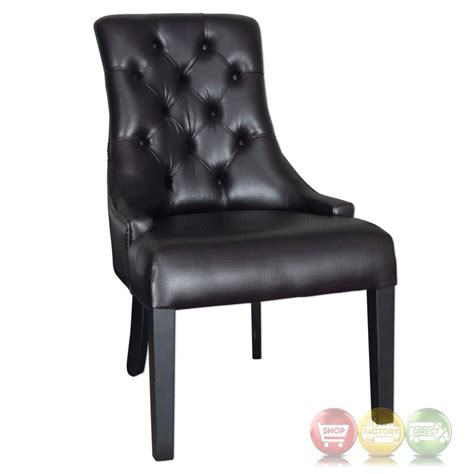 chatten tobacco tufted faux leather accent chair with