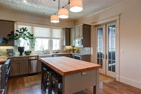 Butcher Block Island with Tolix Stools   Cottage   Kitchen