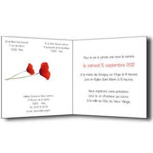 modele faire part mariage faire part mariage coquelicots carte invitation et remerciement menu