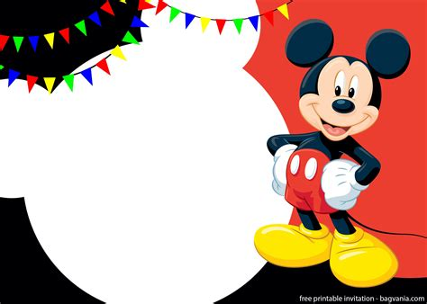 printable cute mickey mouse invitation templates