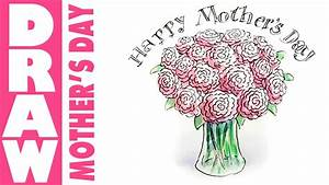 How to draw a vase of flowers for mothers day - YouTube