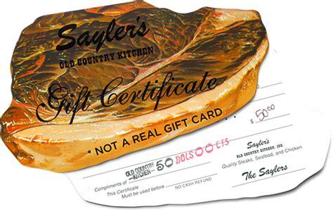 sayler s country kitchen saylers steak gift certificates 5081