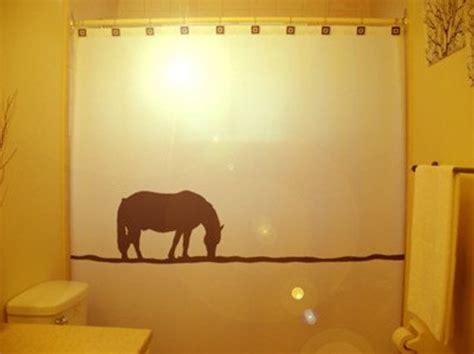 Lonely Horse Shower Curtain Western Theme Bathroom Decor Kids