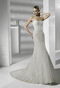 strapless mermaid lace la sposa wedding dress onewedcom With la sposa wedding dresses