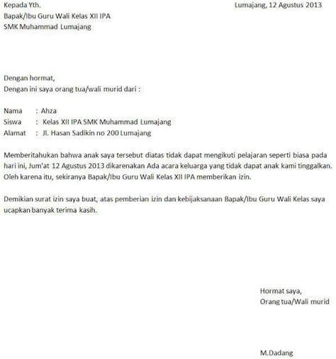 contoh surat izin sekolah sma sd smp berbagai alasan