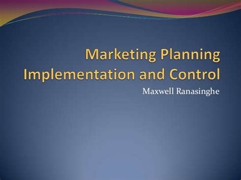 marketing strategy implementation  control