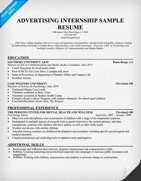 Resume Sles For College Students Seeking Internships by Advertising Internship Resume Template Resumecompanion