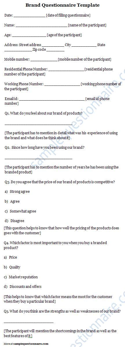 Brand Questionnaire Brand Questionnaire Template Sle Sle Of Brand