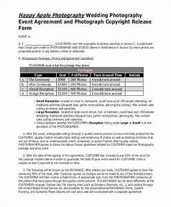 sample photo copyright release forms 8 free documents With wedding photo release form