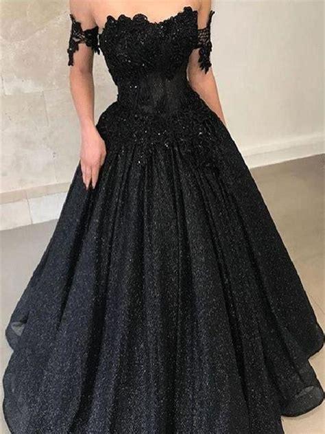 A Line Off Shoulder Lace Black Long Prom Dresses, Black ...