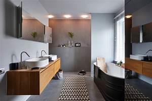 salles de bains en beton cire contemporain salle de With porte d entrée pvc avec mur en béton ciré salle de bain