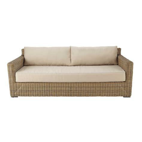 canapé de jardin canapé de jardin 3 4 places en résine tressée et tissu
