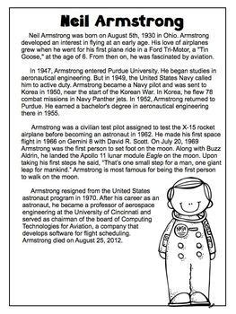 neil armstrong freebie biography article reading