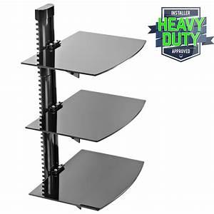 3 Shelf Floating Wall Mount DVD TV Component AV Console ...