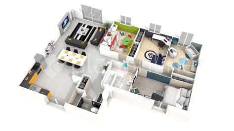 plan 3d chambre plan maison plain pied 4 chambres 3d