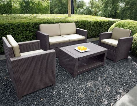 Mobilier de jardin tresse resine table chaise jardin | Reference maison