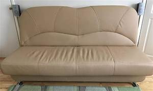 Faux leather sofa bed beige color for sale eastbourne for Beige leather sectional sofa sale