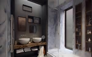 bad design holz bad renovieren kosten sparen grauem marmor wände schöne badezimmer mit doppel waschbecken und