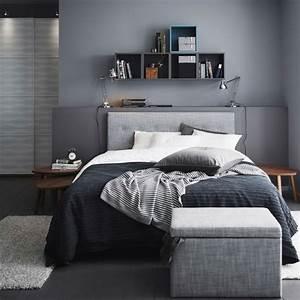 Schlafzimmer Set Ikea : ein graues schlafzimmer mit rviksand bettgestell mit kopfteil in grau ofelia vass bettw sche ~ Orissabook.com Haus und Dekorationen