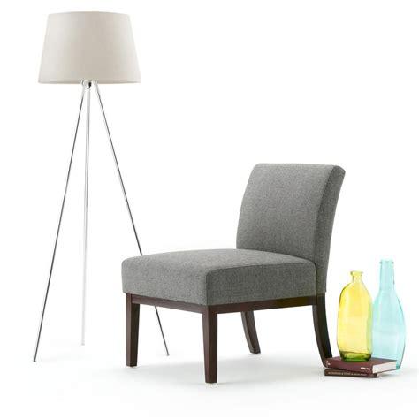 fabric side chairs simpli home upton slate grey fabric slipper chair axcchr 3652