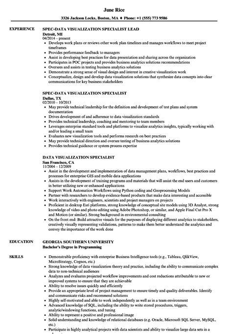 data visualization specialist resume samples velvet jobs
