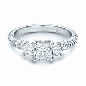 custom three stone and pave diamond engagement ring With pave diamond wedding rings