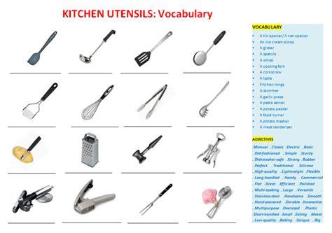 Kitchen Equipment Worksheet Answers by Kitchen Utensils Vocabulary Worksheets Quiz Crosswword