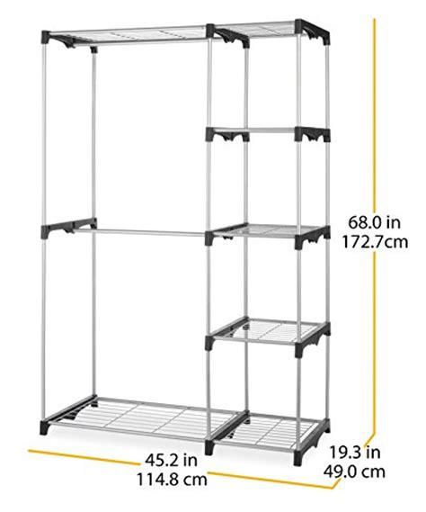 whitmor rod closet freestanding silver black