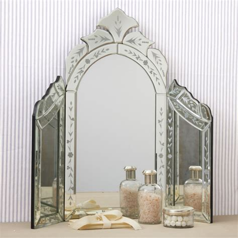 Glass Mirror Vanity Table by New Venetian Style Etched Glass Trifold Vanity Table Top