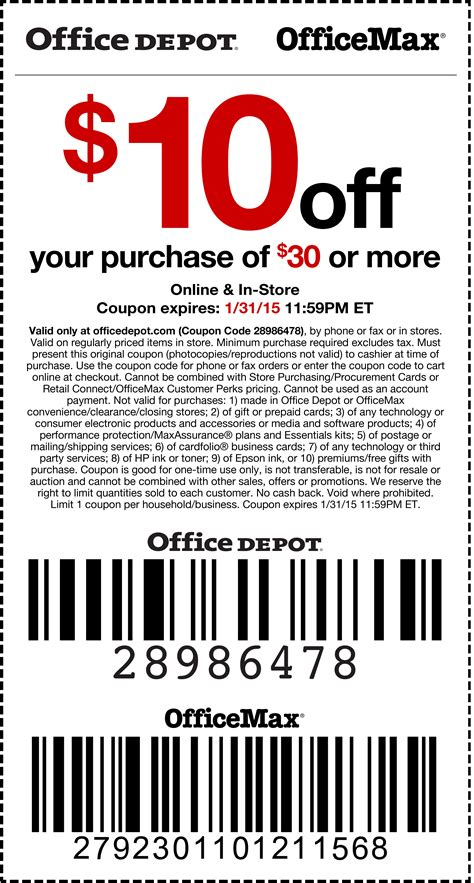 Office Depot Coupon Code by Office Depot Coupons 10 30 At Office Depot