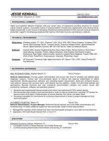resume network administrator entry level