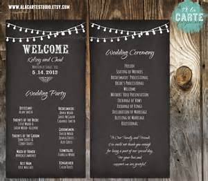 vintage wedding program template string lights wedding ceremony cards wedding by