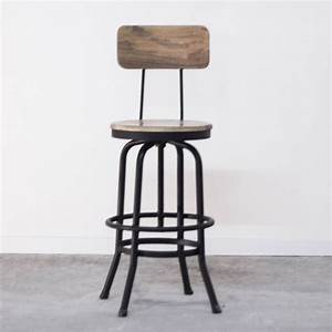 Chaise De Bar Haute : tabouret de bar industriel avec dossier en bois et m tal ~ Teatrodelosmanantiales.com Idées de Décoration