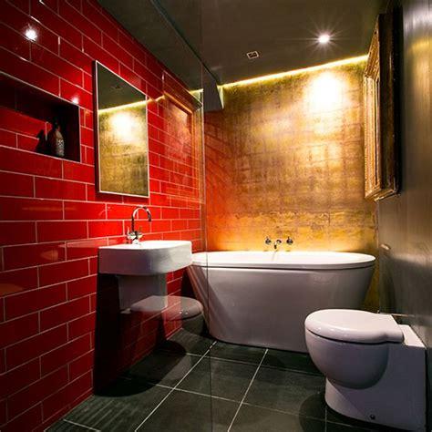 dramatic red  gold bathroom modern bathroom design